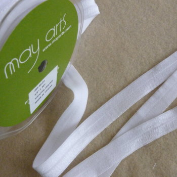 15mm Wide Satin Elastic - White