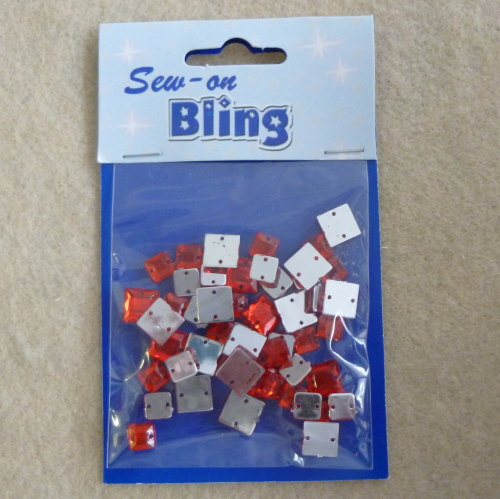 Sew on Bling - Square Red