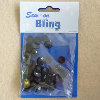 Sew on Bling - Round Black Mixed Sizes