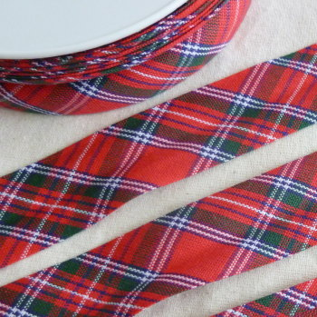 100% Cotton Bias Binding - Red Tartan