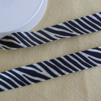 Zebra Print Satin Bias Binding 25mm Wide