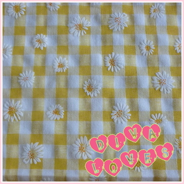 daisy puff gingham fabric polycotton yellow diva crafts diva loves week 76