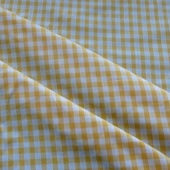 Polycotton Gingham Fabric 6mm Check - Yellow