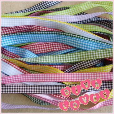 gingham ribbon bundle 12 metres 10mm wide diva crafts