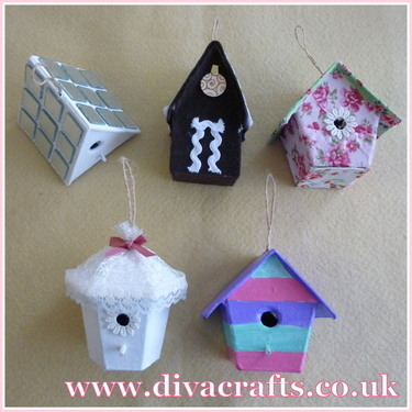 mini decoarted bird houses at Diva Crafts for Diva Makes 8