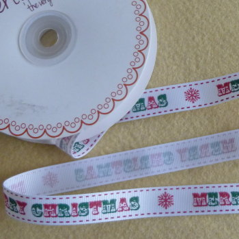 Bertie's Bows Christmas Ribbon 16mm Wide - Merry Christmas