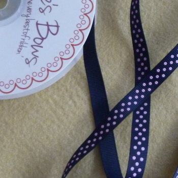 Bertie's Bows 9mm Polka Dot Ribbon - Pink on Navy