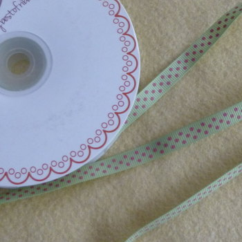 Bertie's Bows 9mm Polka Dot Ribbon - Pink on Lime