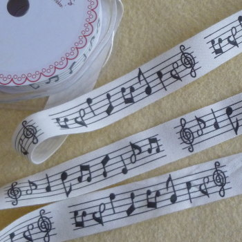 Bertie's Bows 20mm Wide Cotton Ribbon - Music Notes
