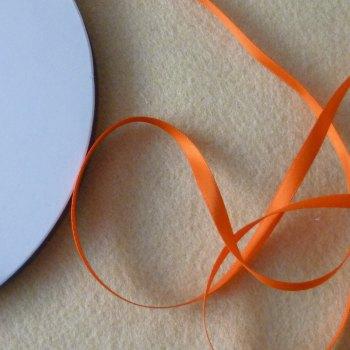 6mm Wide Double Satin Ribbon - Orange