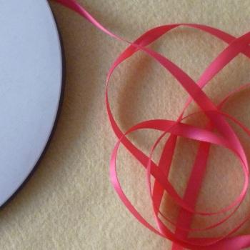 6mm Wide Double Satin Ribbon - Dark Pink
