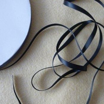 6mm Wide Double Satin Ribbon - Black