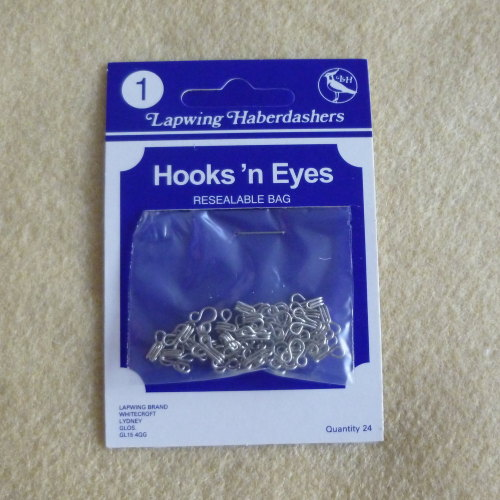 Hook & Eyes 24 Piece Pack - Size 1 - Silver Coloured