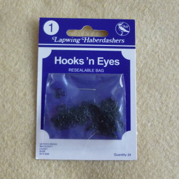 Hook & Eyes 24 Piece Pack - Size 1 - Black