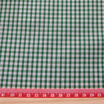 Polycotton Gingham Fabric 3mm Check - Green