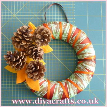 autumn wreath with pine cones diva crafts