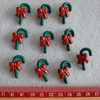 Christmas Novelty Buttons - Candy Canes x 10