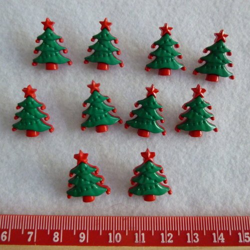 Christmas Novelty Buttons - Tree x 10