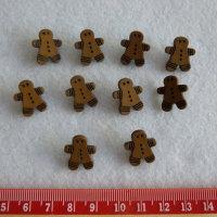 Christmas Novelty Buttons - Gingerbread Men x 10