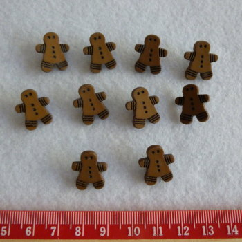 Christmas Novelty Buttons - Gingerbread Men x 10