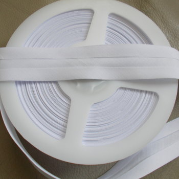 25mm Wide Polycotton Bias Binding - White