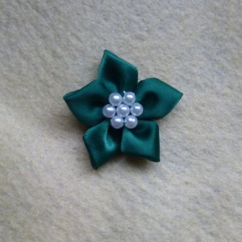 1 x Satin Ribbon Poinsettia - Green with White Beads