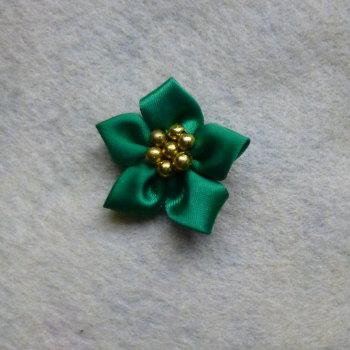1 x Satin Ribbon Poinsettia - Green with Gold Beads