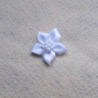 1 x Satin Ribbon Poinsettia - White with White Beads