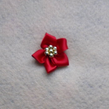 1 x Satin Ribbon Poinsettia - Red with Gold Beads