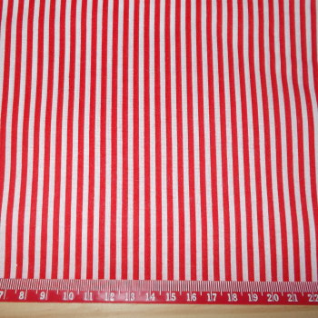 Red & White Striped 100% Polycotton Fabric