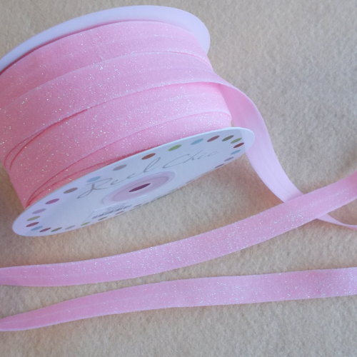 Headband Elastic - 16mm wide - Glitter Baby Pink