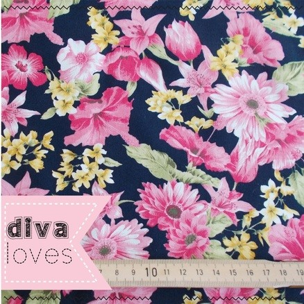 navy with floral fabric Diva Crafts Diva Loves week 115