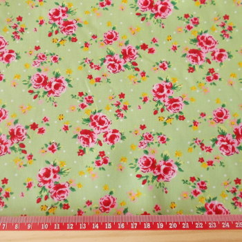 Mini Retro Roses on Green 100% Cotton Fabric