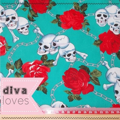 jade skull and roses cotton fabric diva crafts diva loves week 124