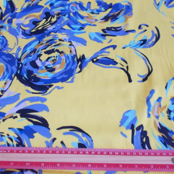 Lemon & Blue Floral Cotton Sateen Fabric