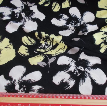 Black Lemon & Grey Floral Polyester Elastane Fabric