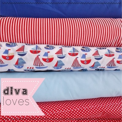 nautical themed fat quarter polycotton fabric bundle diva crafts diva loves