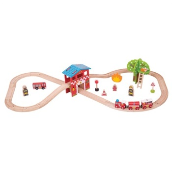 Fire and Rescue Train Set - BigJigs
