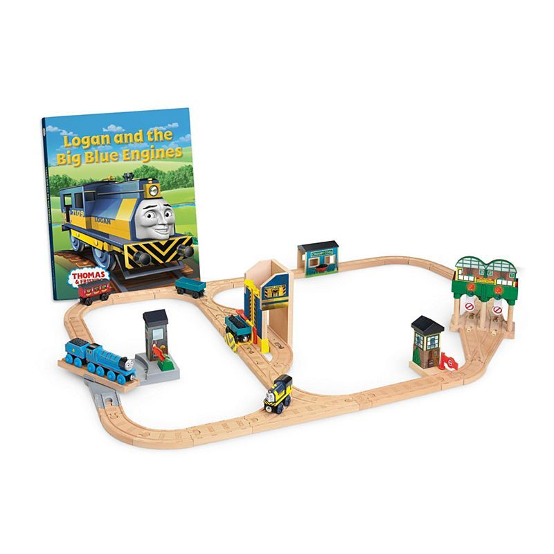 Logan and the Big Blue Engines Playset - Thomas Wooden