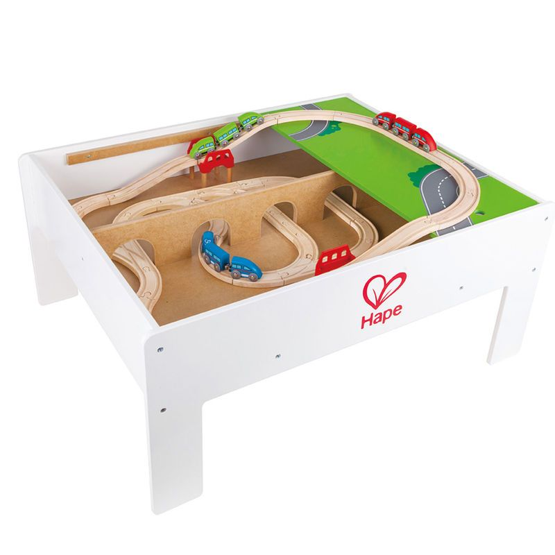 tootally wooden trains hape railway reversible train storage table. Black Bedroom Furniture Sets. Home Design Ideas