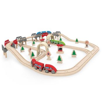 High and Low Railway Set  - Hape Wooden Railway