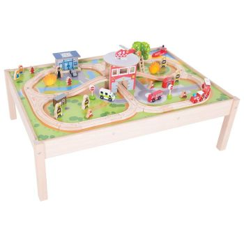 Fire Station Train Set and Table - Bigjigs