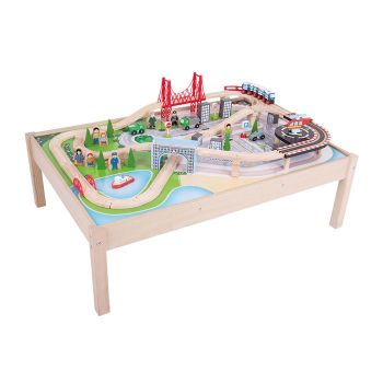 City Train Set and Table - Bigjigs