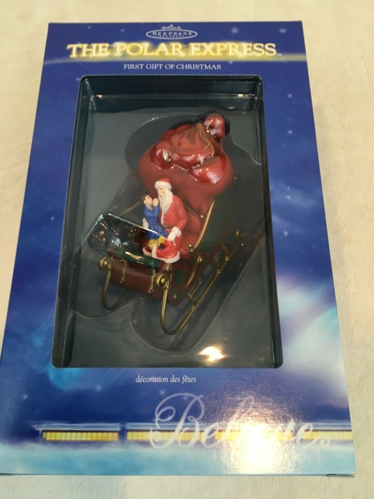 Polar Express Tree Ornament - First Gift of Christmas 2004 Sleigh  - Hallma