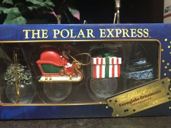 Polar Express Tree Ornament - 4 Glitter Snow Globe Baubles   - Hallmark