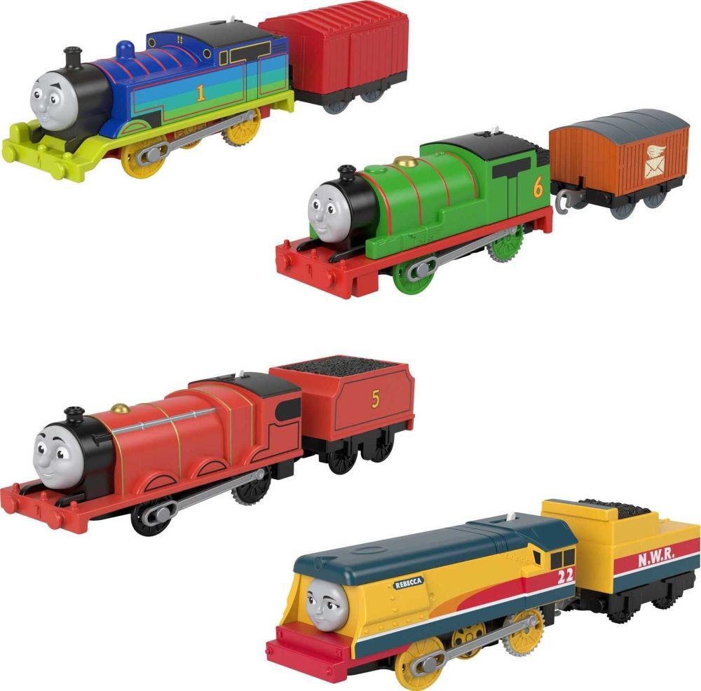Rainbow Thomas, Percy, James & Rebecca Train Engine Set - Motorized
