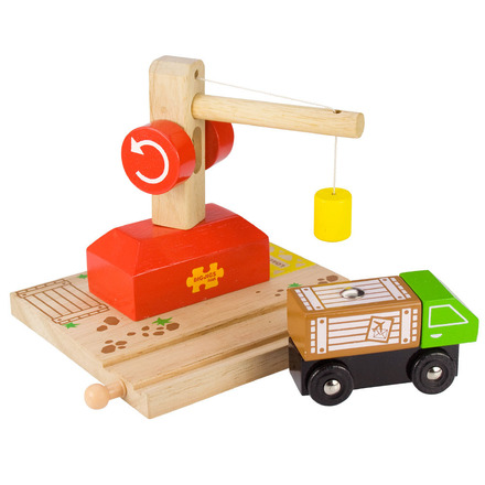 Crane with Rail and Lorry - BigJigs Rail