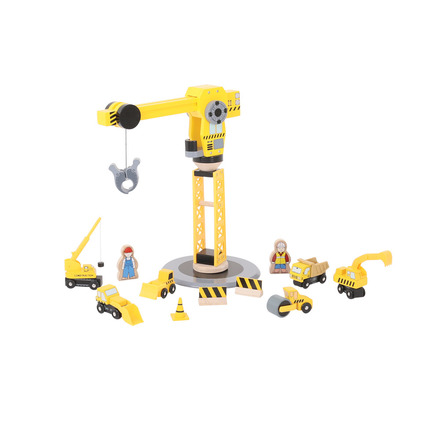 Big Yellow Crane and Construction Set - BigJigs Rail