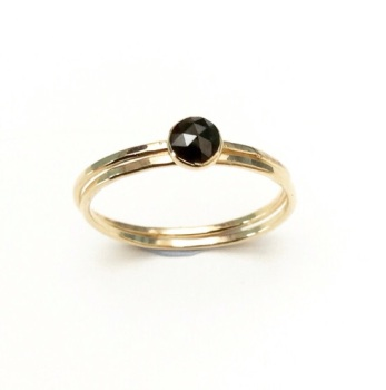 Solid Gold Black Diamond ring set