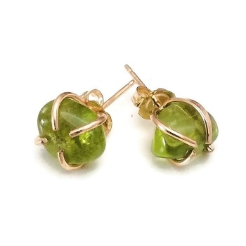 Peridot nugget earrings